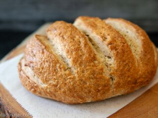 Baked loaf of bread-machine rye bread