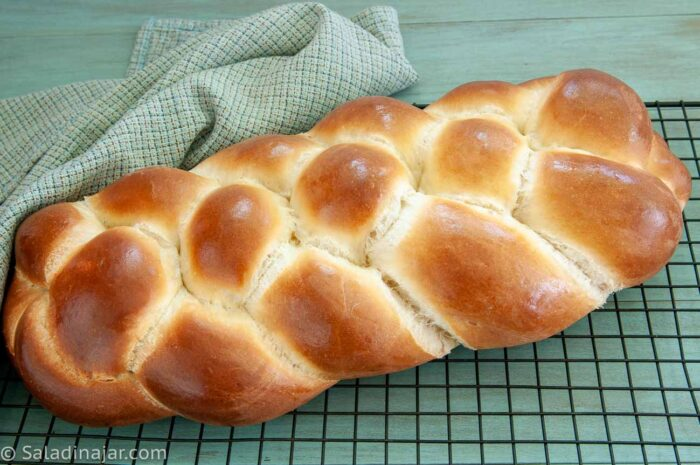 4-Braid baked Challah on a cooling rack