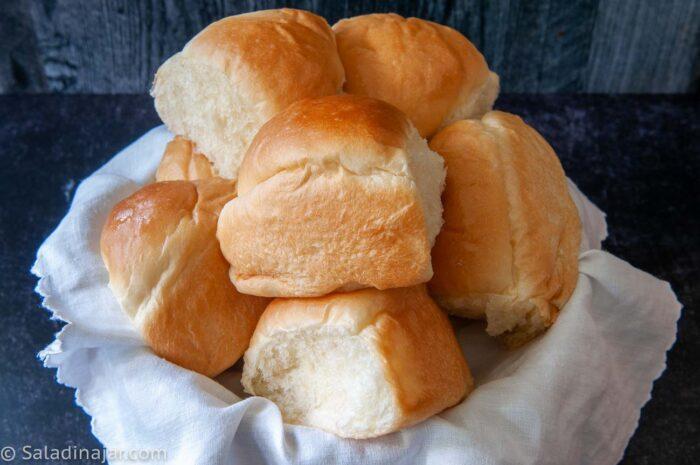 bread machine dinner rolls in a basket