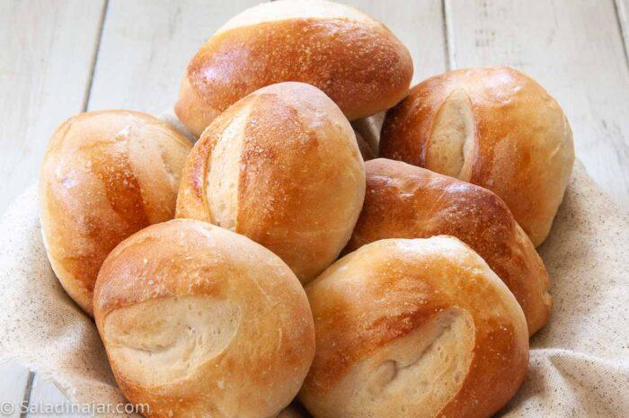 sourdough bread rolls in a basket