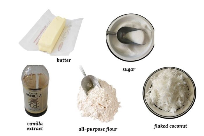 ingredients needed for coconut cookie recipe
