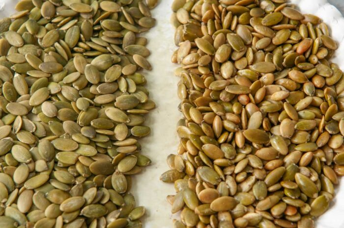 raw vs toasted (with oil and salt) pumpkin seeds using the microwave