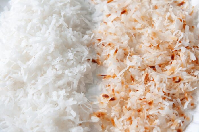 untoasted coconut flakes compared to microwave toasted coconut flakes