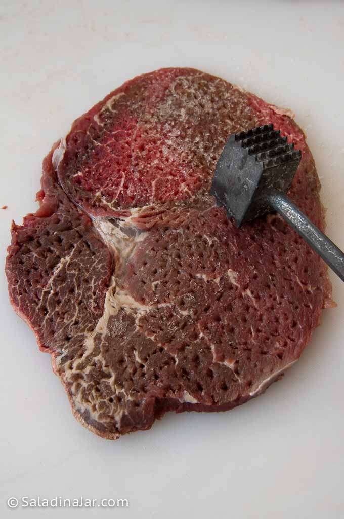 pounding steak to make it thinner and more tender