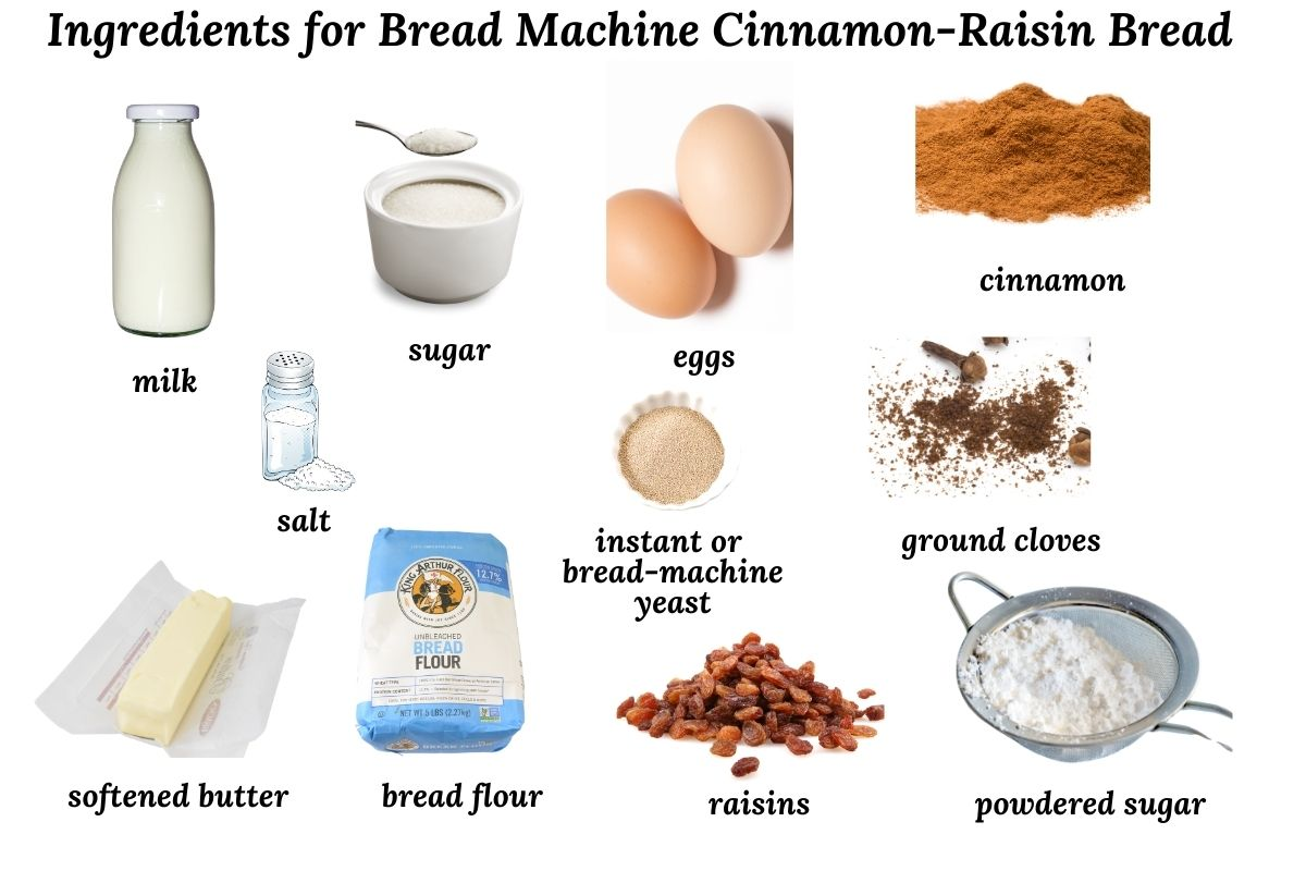 ingredients needed to make cinnamon-raisin bread