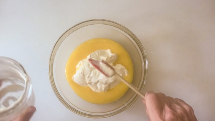 Adding creme fraiche