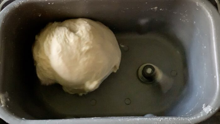 The dough should look like this when the machine stops kneading.