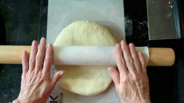 Rolling the dough into a rectangle