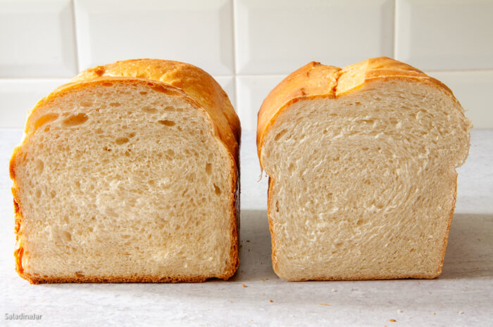Comparison of crumb: bread baked in a bread machine and bread mixed in a bread machine but baked in the oven