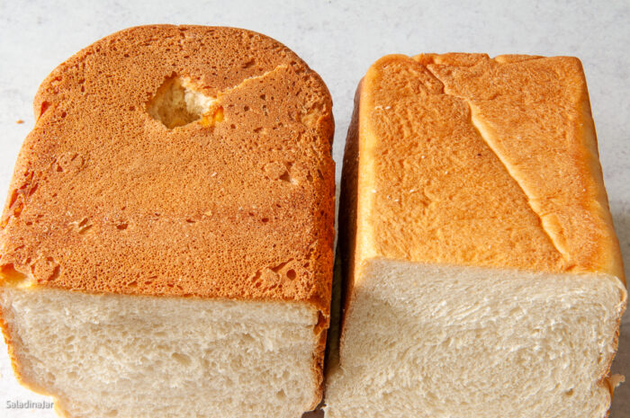 comparing crust of bread baked in bread machine to one baked in the oven