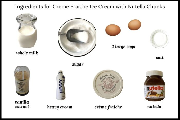 Ingredients needed to make Creme Fraiche Ice Cream with Nutella Chunks