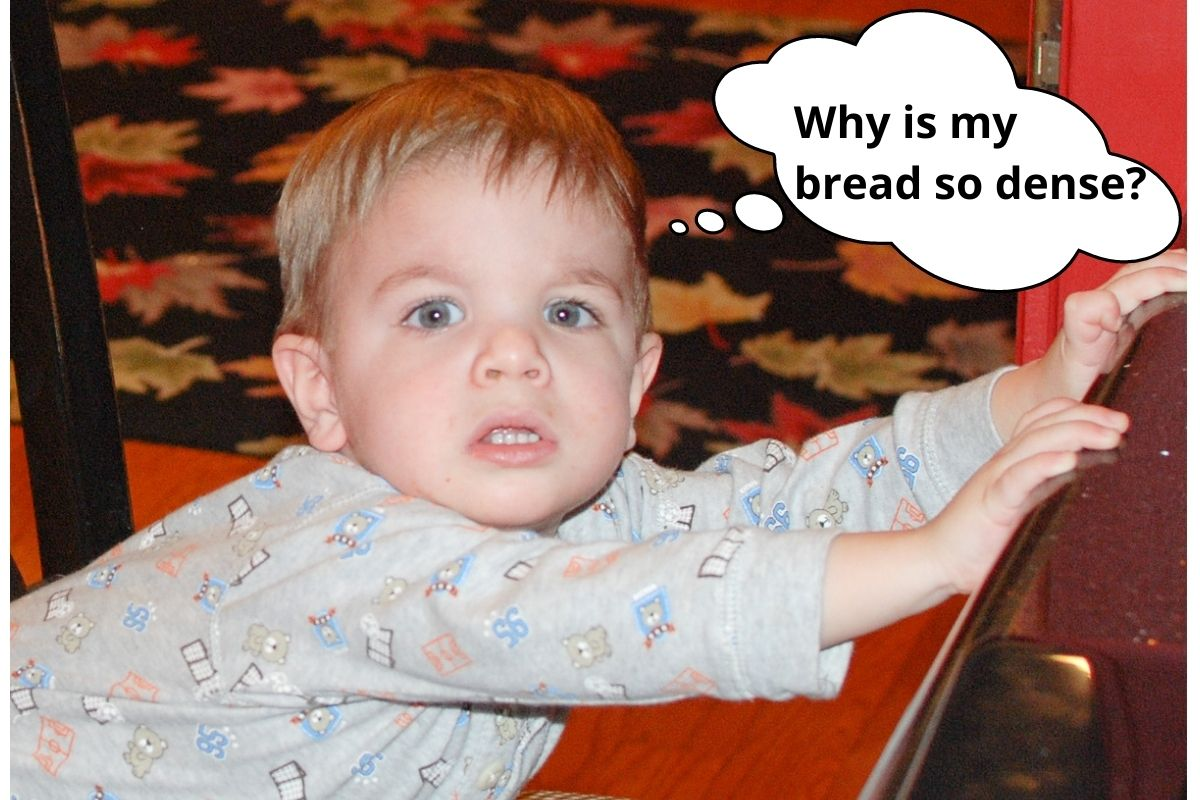 """picture of a mad little boy thinking,""""why is my bread so dense?"""""""