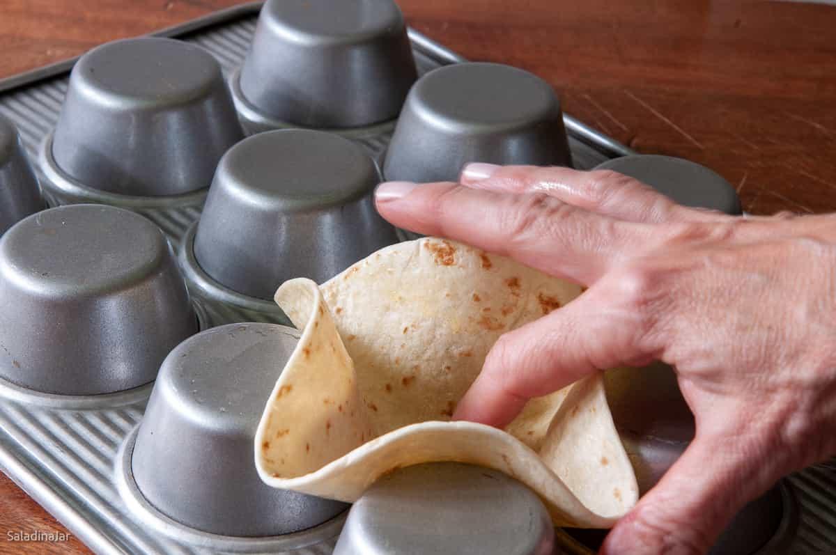 using a muffin tin to make shells