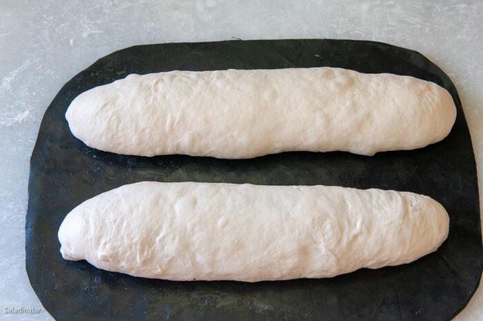 dough shaped into batards