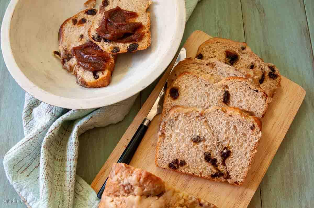 sliced cinnamon-apple bread spread with apple butter