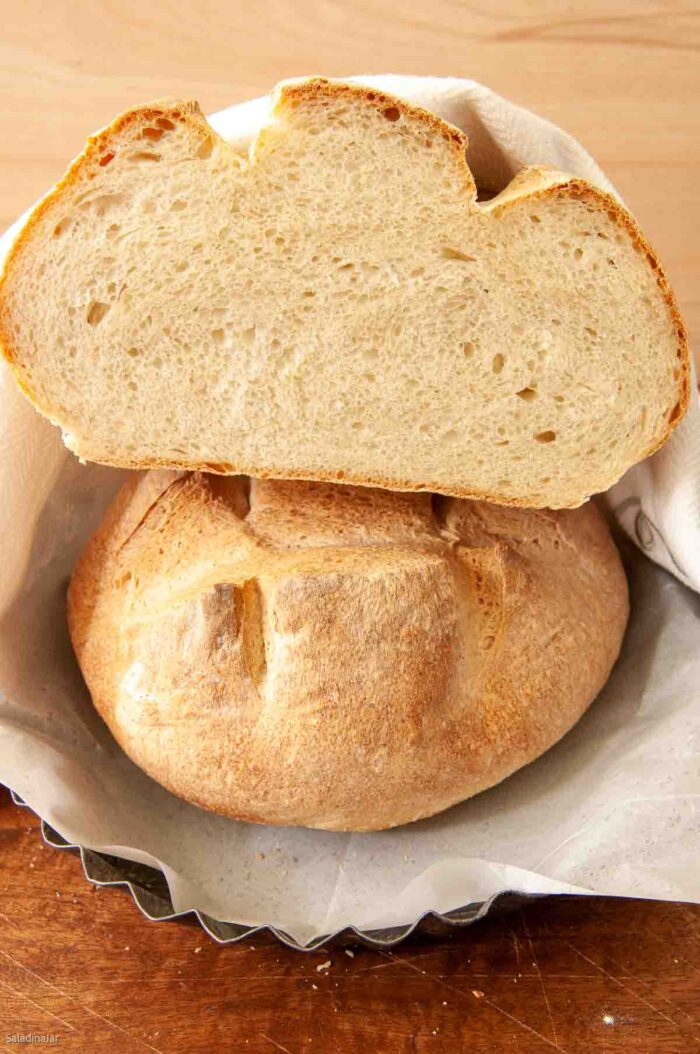Bread loaf cut in half to show the texture