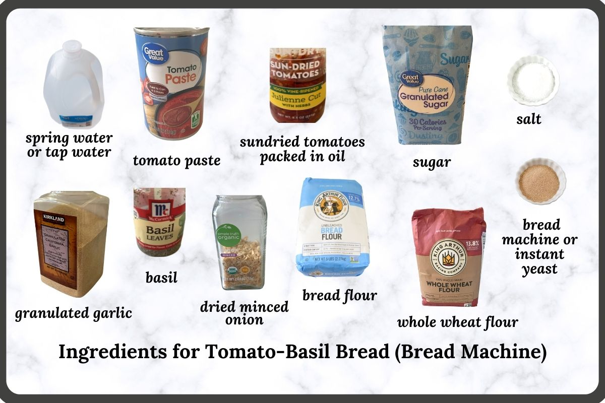 ingredients required to make this tomato bread recipe