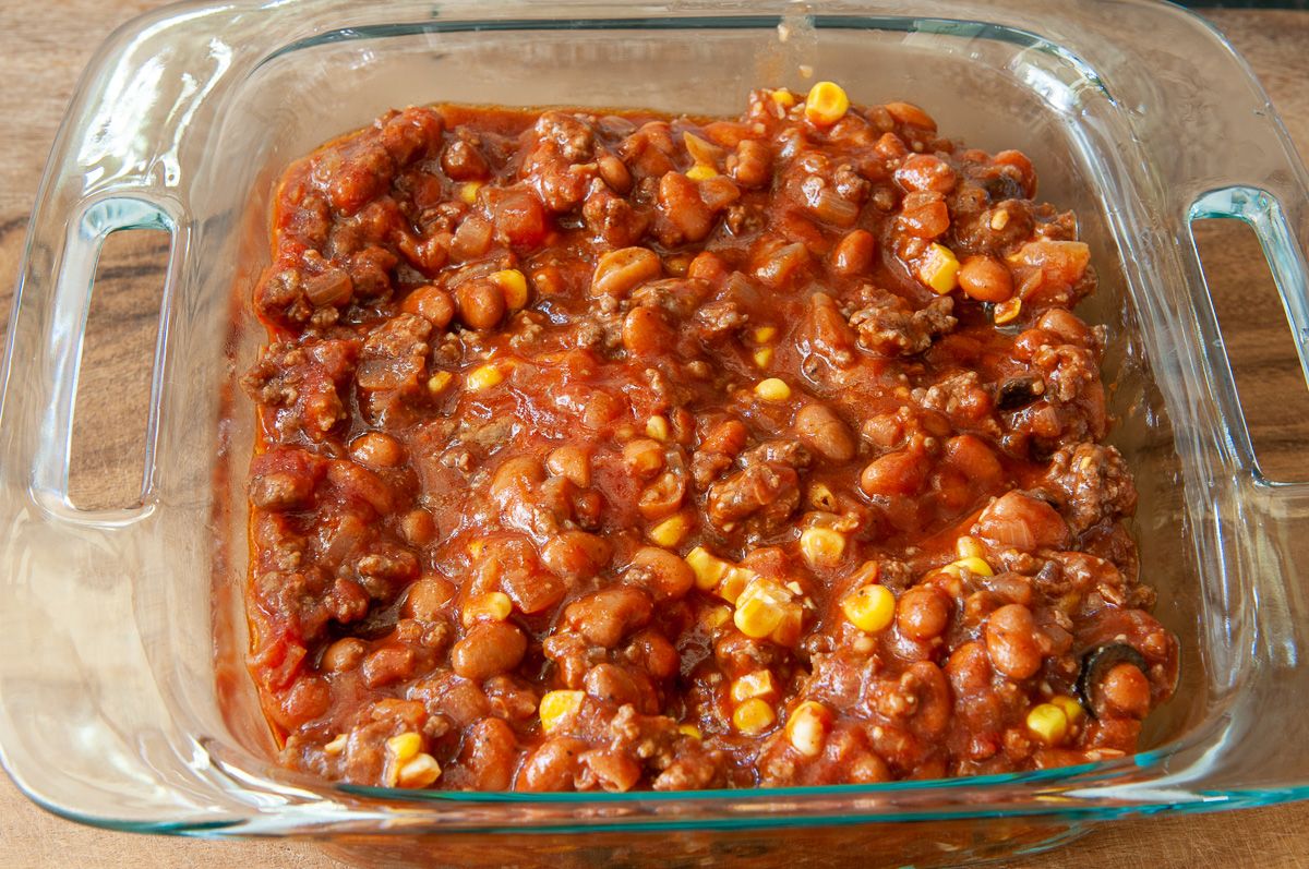 meat layer in a casserole dish
