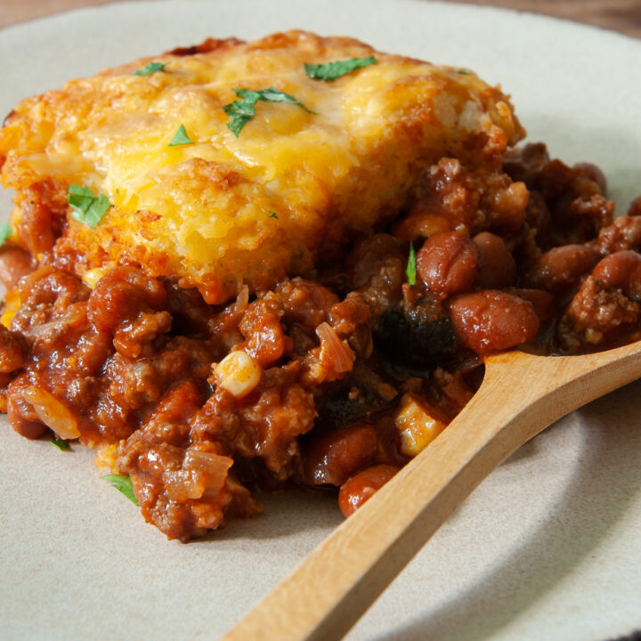 individual serving of tamale pie on a plate